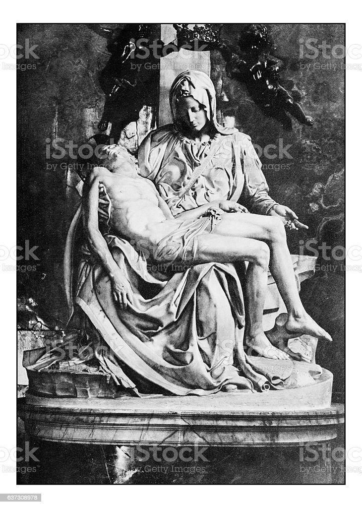 Antique dotprinted photographs of Italy: Pietà di Michelangelo stock photo
