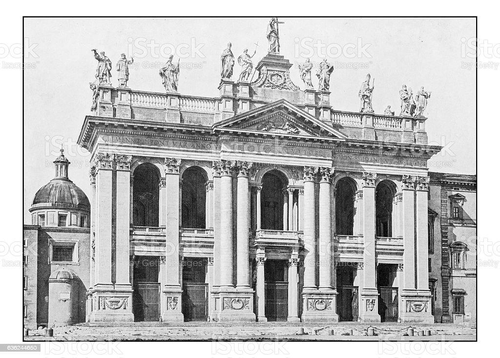 Antique dotprinted photographs of Italy: Rome, Archbasilica St. John Lateran stock photo
