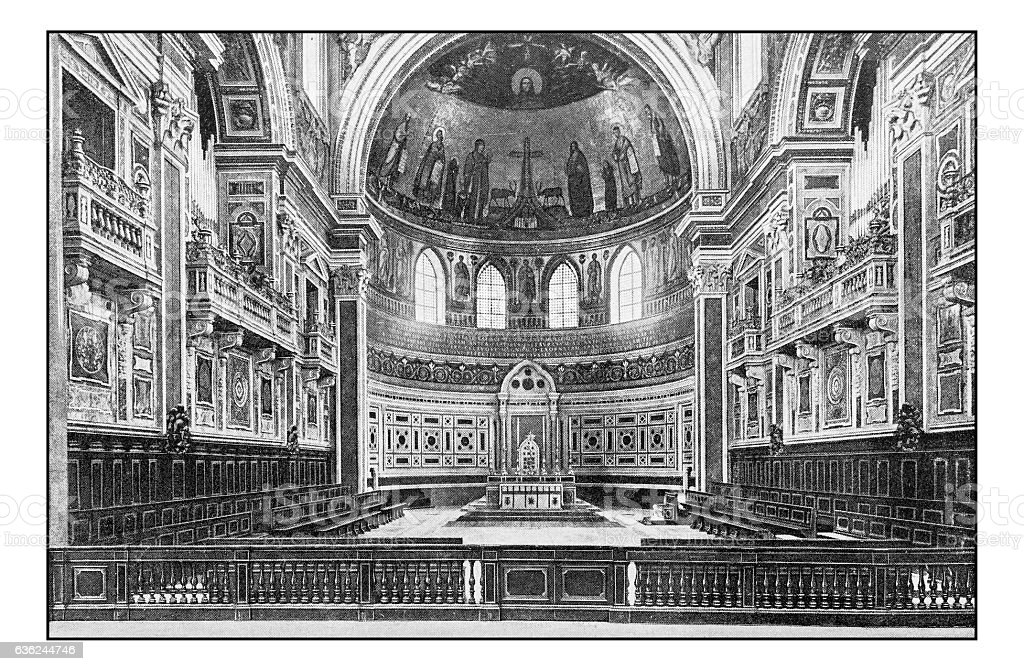Antique dotprinted photographs of Italy: Rome, Archbasilica St. John Lateran stock photo