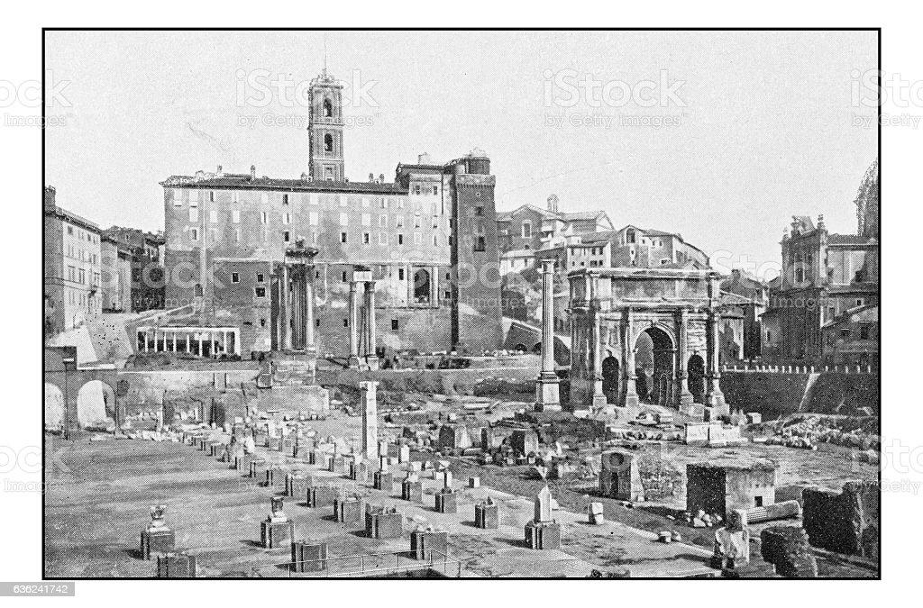 Antique dotprinted photographs of Italy: Rome, Basilica Julia stock photo