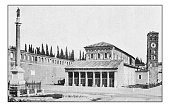 Antique dotprinted photographs of Italy: Rome, Basilica of Saint Lawrence