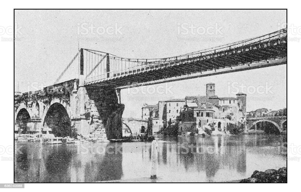Antique dotprinted photographs of Italy: Rome, Palatino Bridge stock photo