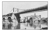 Antique dotprinted photographs of Italy: Rome, Palatino Bridge