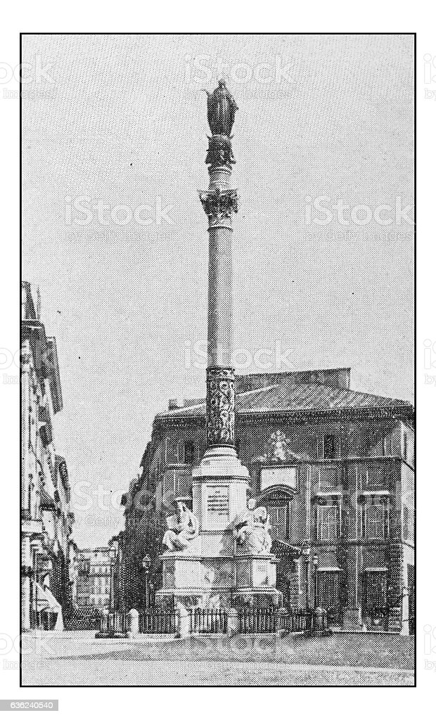 Antique dotprinted photographs of Italy: Rome, Piazza di Spagna stock photo