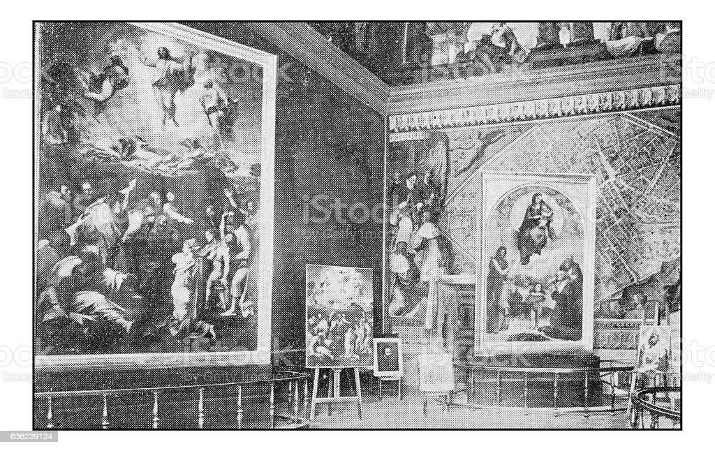Antique dotprinted photographs of Italy: Rome, Sala della Trasfigurazione stock photo