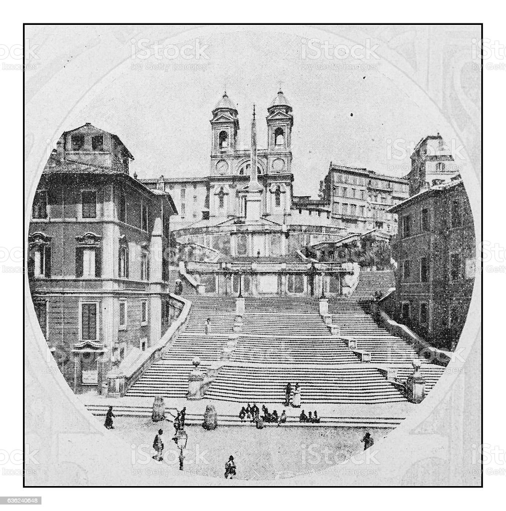 Antique dotprinted photographs of Italy: Rome, Spanish Steps stock photo