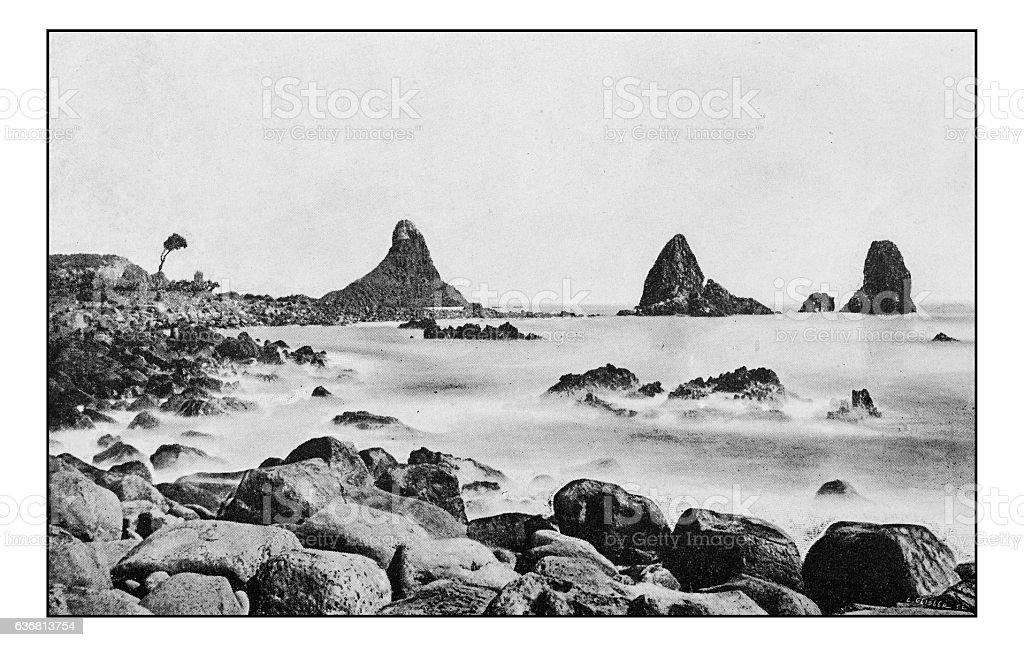 Antique dotprinted photographs of Italy: Sicily, Aci, Cyclope's rocks stock photo