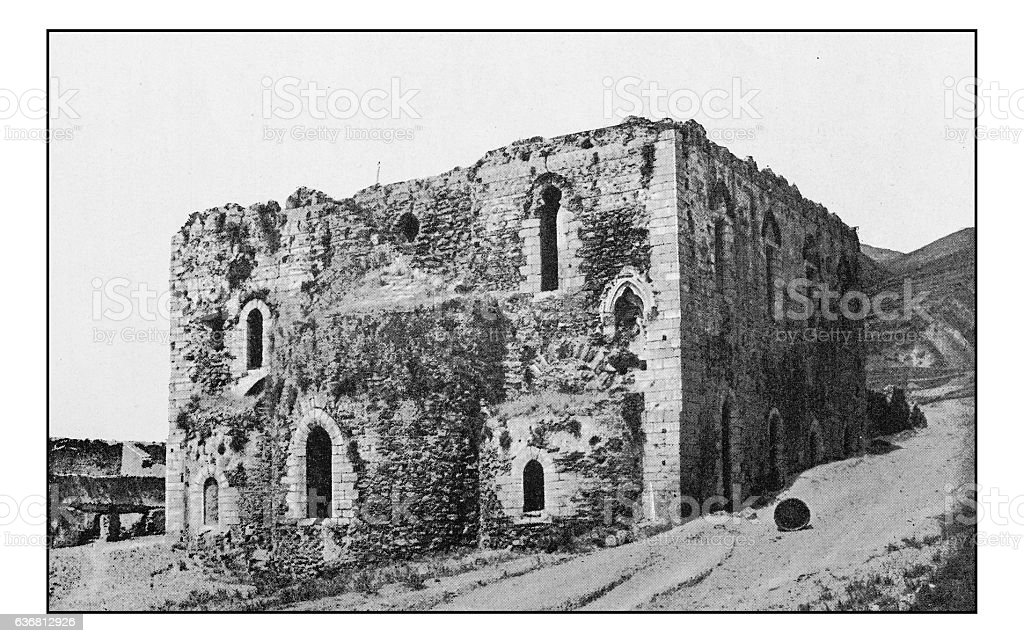 Antique dotprinted photographs of Italy: Sicily, Messina ruins stock photo