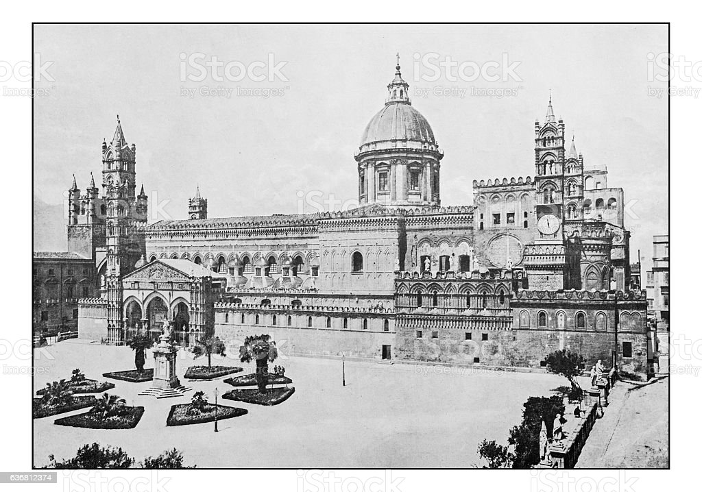 Antique dotprinted photographs of Italy: Sicily, Palermo Cathedral stock photo