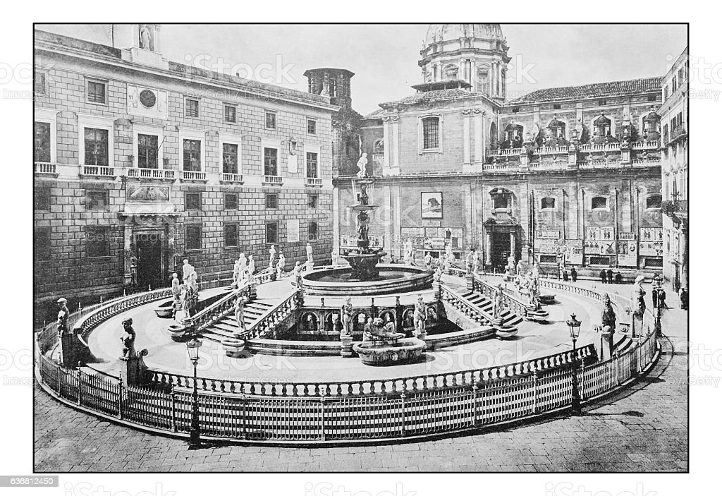 Antique dotprinted photographs of Italy: Sicily, Palermo Fountain stock photo