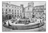 Antique dotprinted photographs of Italy: Sicily, Palermo Fountain