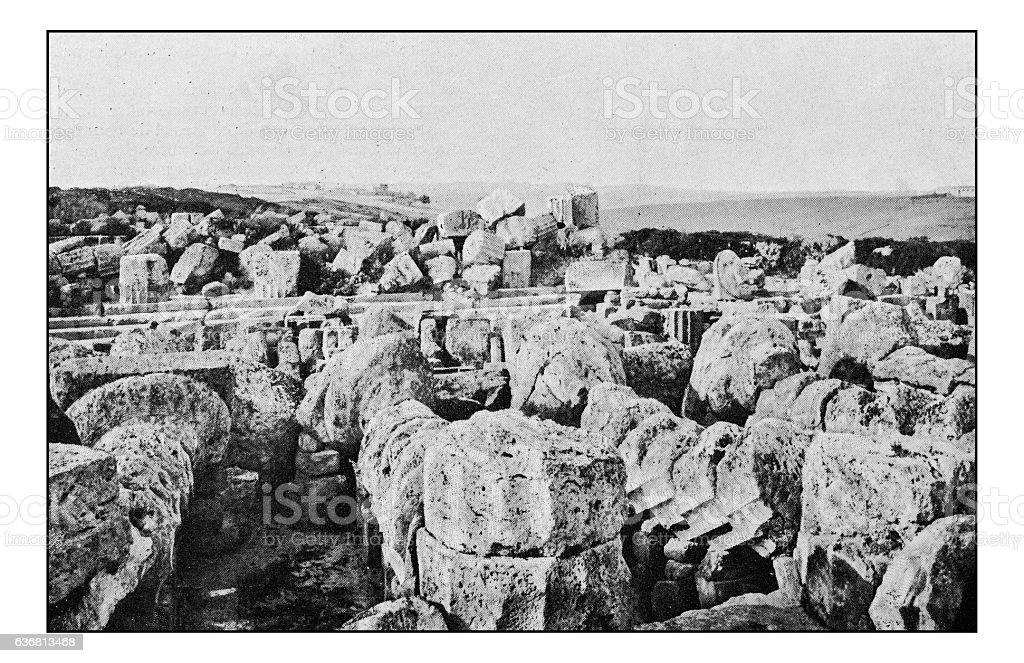 Antique dotprinted photographs of Italy: Sicily, Selinunte acropolis ruins stock photo