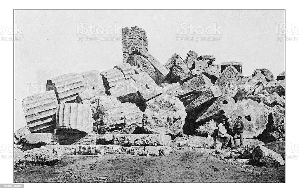 Antique dotprinted photographs of Italy: Sicily, Selinunte ruins stock photo