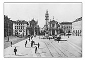 Antique dotprinted photographs of Italy: Turin, Piazza san Carlo
