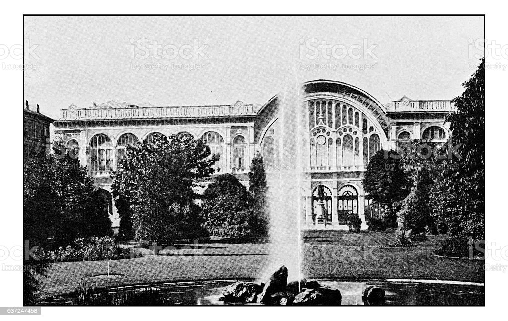 Antique dotprinted photographs of Italy: Turin, Train Station stock photo