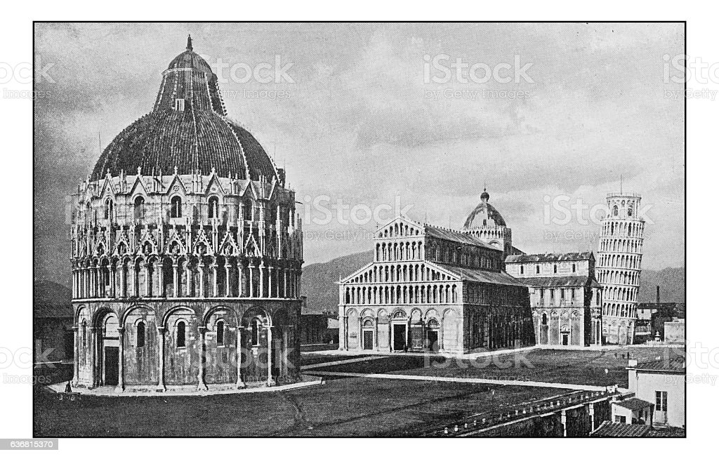 Antique dotprinted photographs of Italy: Tuscany, Piazza dei Miracoli, Pisa stock photo