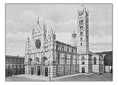 Antique dotprinted photographs of Italy: Tuscany, Siena, Cathedral