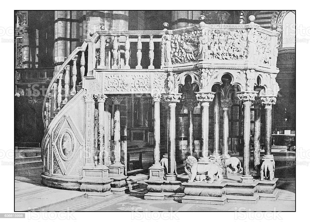 Antique dotprinted photographs of Italy: Tuscany, Siena cathedral stock photo