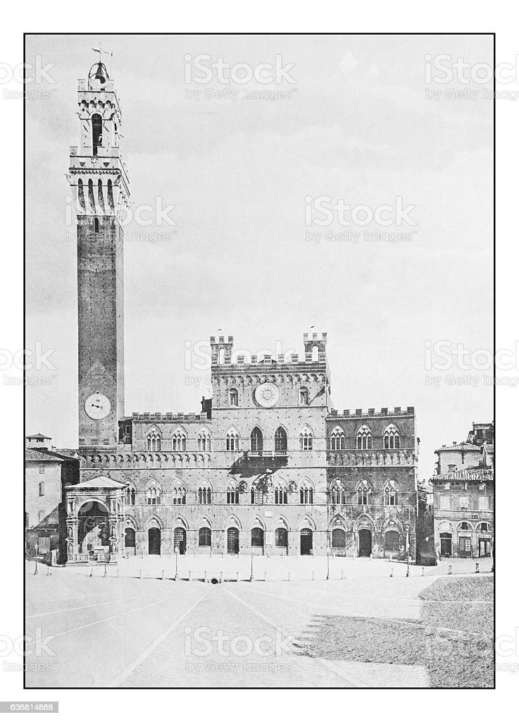 Antique dotprinted photographs of Italy: Tuscany, Siena, Palazzo della Signoria stock photo