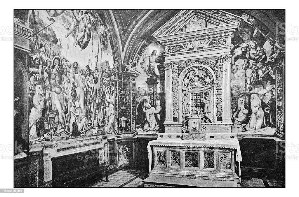 Antique dotprinted photographs of Italy: Tuscany, Siena, San Domenico church stock photo