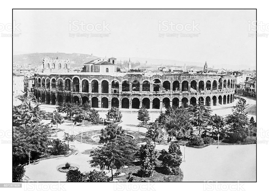 Antique dotprinted photographs of Italy: Veneto, Arena di Verona stock photo