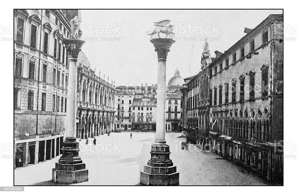 Antique dotprinted photographs of Italy: Veneto, Vicenza, Piazza dei Signori stock photo