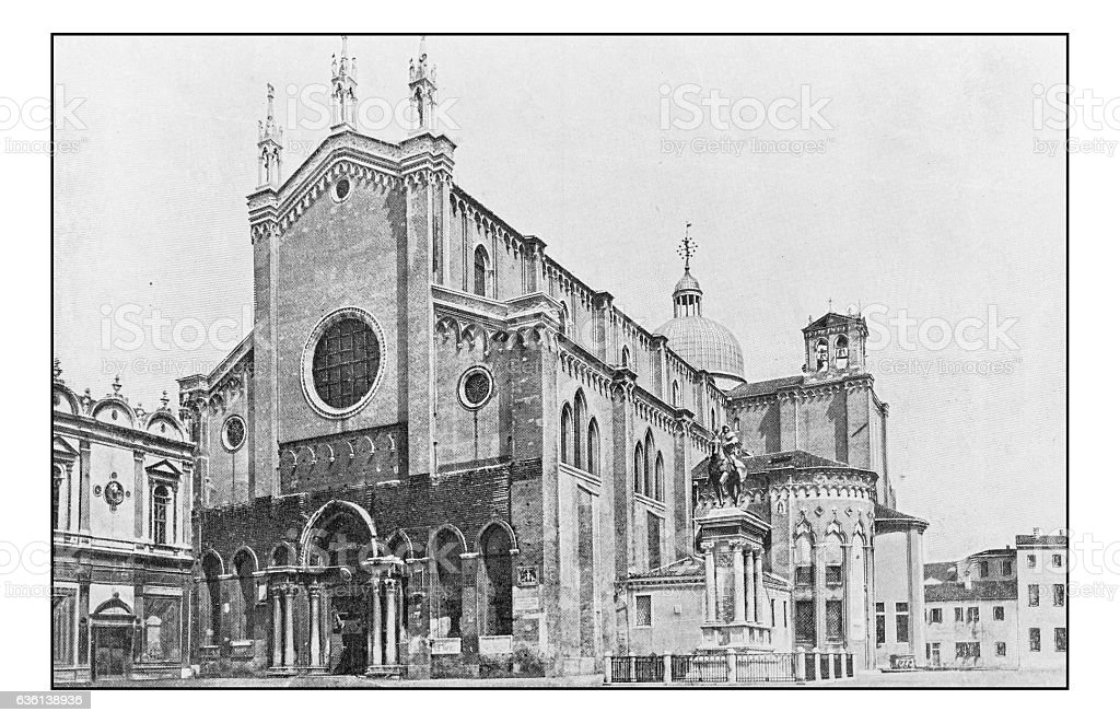 Antique dotprinted photographs of Italy: Venice, Basilica San Giovanni Paolo stock photo