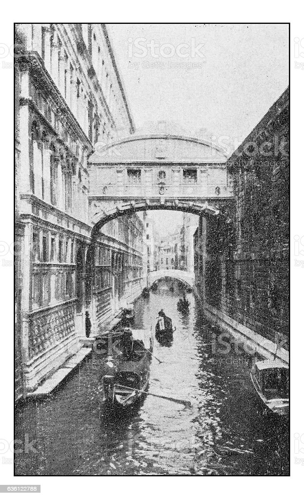 Antique dotprinted photographs of Italy: Venice,  Bridge of Sighs stock photo
