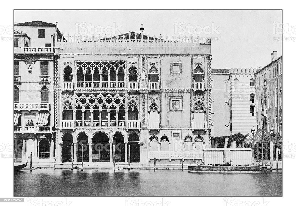Antique dotprinted photographs of Italy: Venice, Ca d'oro Palace stock photo