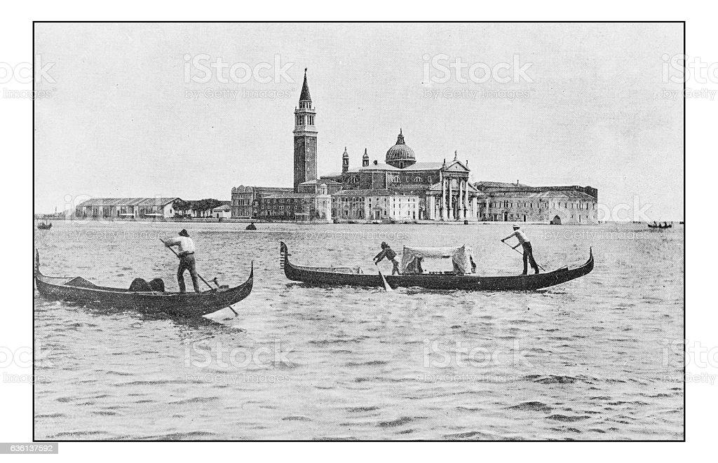 Antique dotprinted photographs of Italy: Venice, San Giorgio Maggiore stock photo