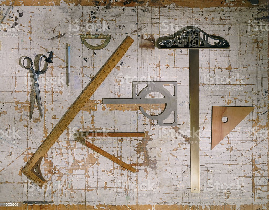 Antique Drafting Tools royalty-free stock photo