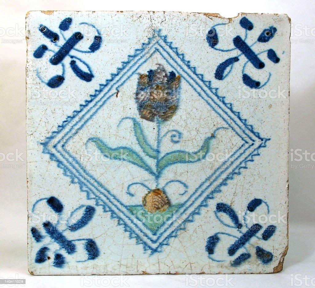 Antique Dutch tile royalty-free stock photo