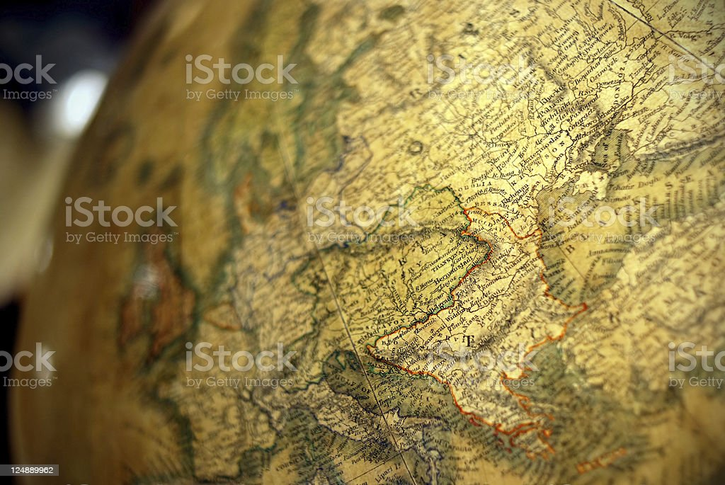 Antique earth globe close-up royalty-free stock photo