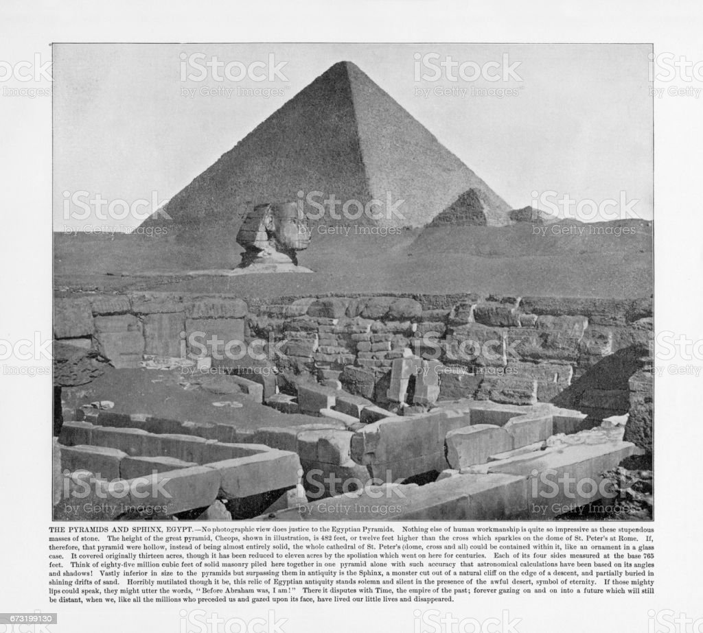 Antique Egypt Photograph: The Pyramids and Sphinx, Cairo, Egypt, 1893 stock photo
