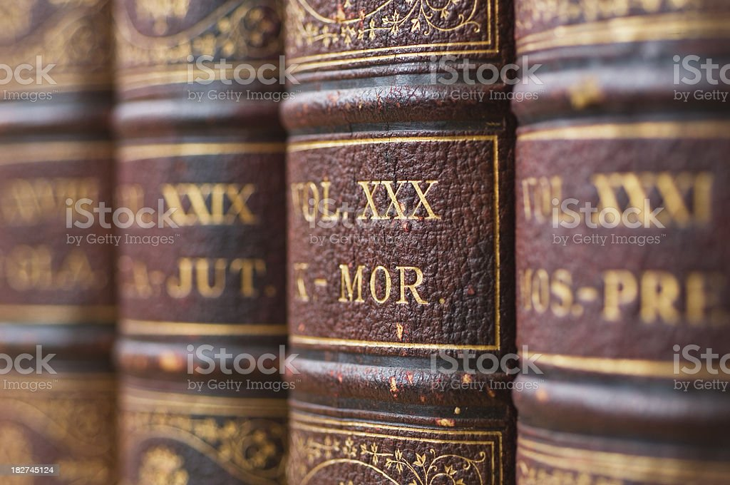 Antique encyclopedias stock photo