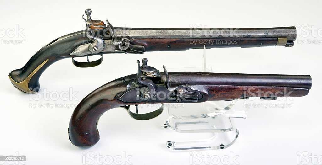 Antique English and French  Flintlock Pistol. stock photo