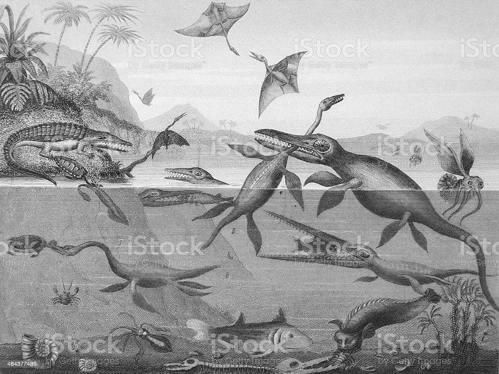 Antique Engraving of Prehistoric Animals, 1844 stock photo