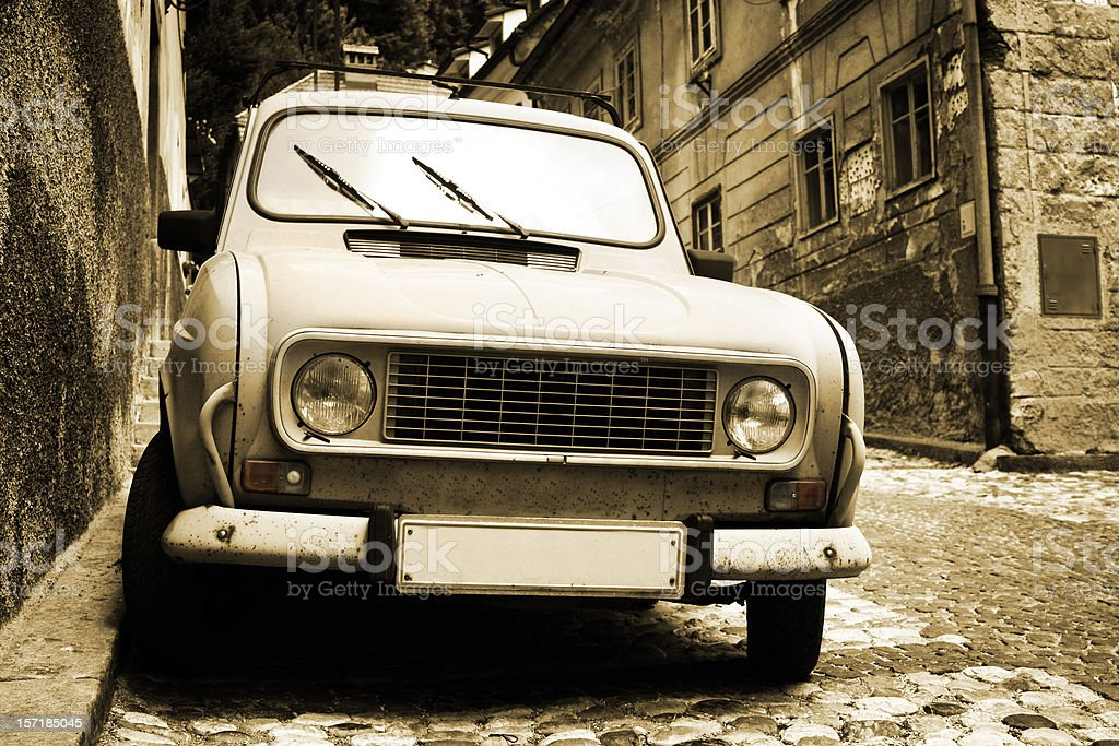 Antique european car stock photo
