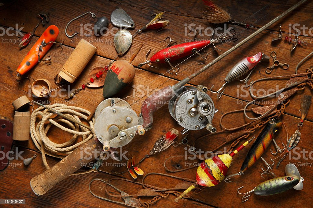 Antique fishing gear. stock photo