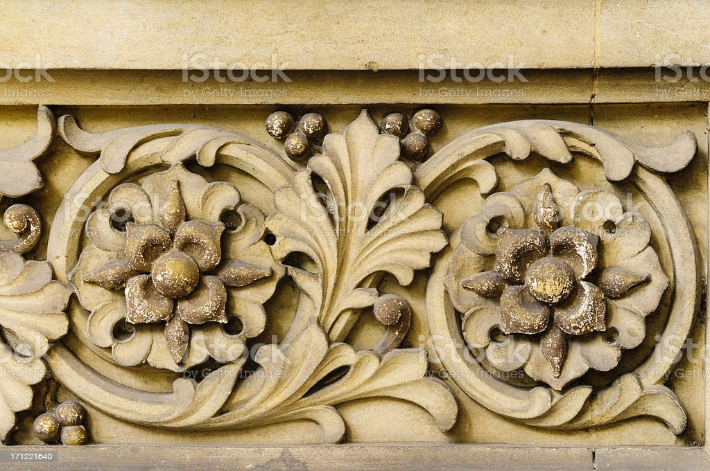Antique floral carving royalty-free stock photo