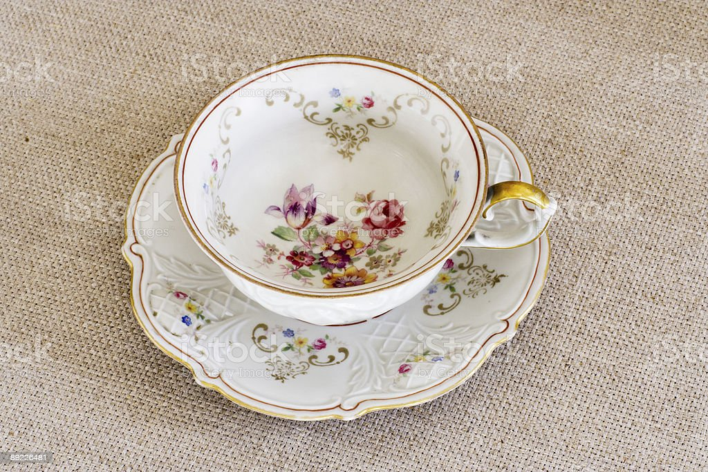 Antique floral cup royalty-free stock photo