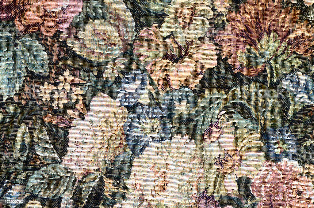 Antique floral fabric background stock photo