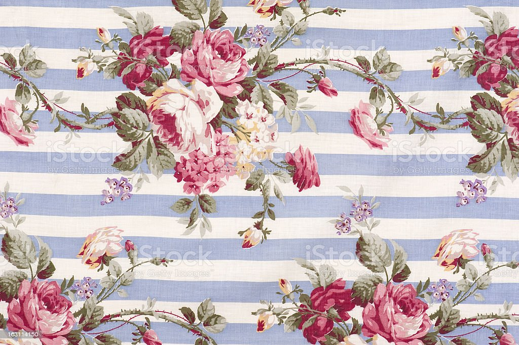 Antique Floral Fabric SB30 Close Up stock photo