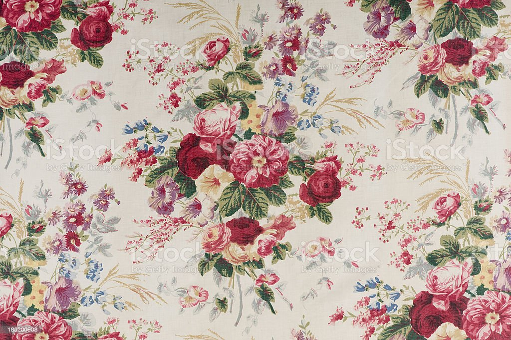 Antique floral fabric SB38 Close Up stock photo