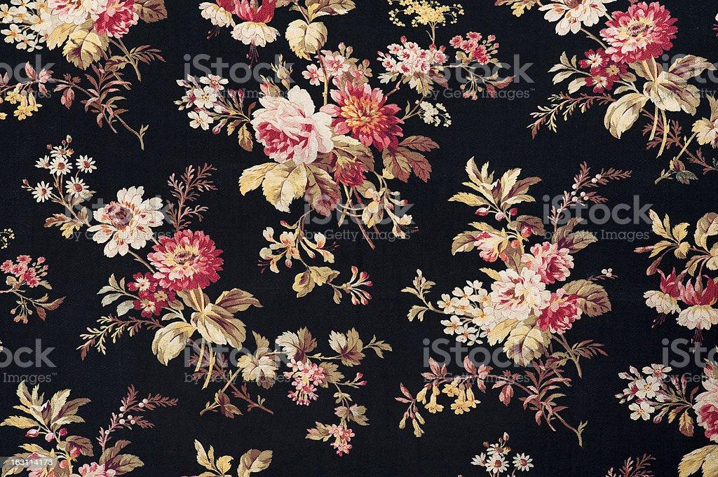 Antique Floral Fabric SB40 Close Up stock photo