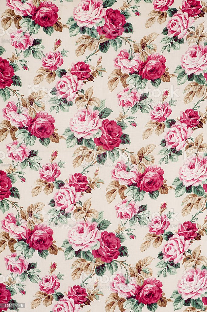 Antique floral fabric Wide stock photo