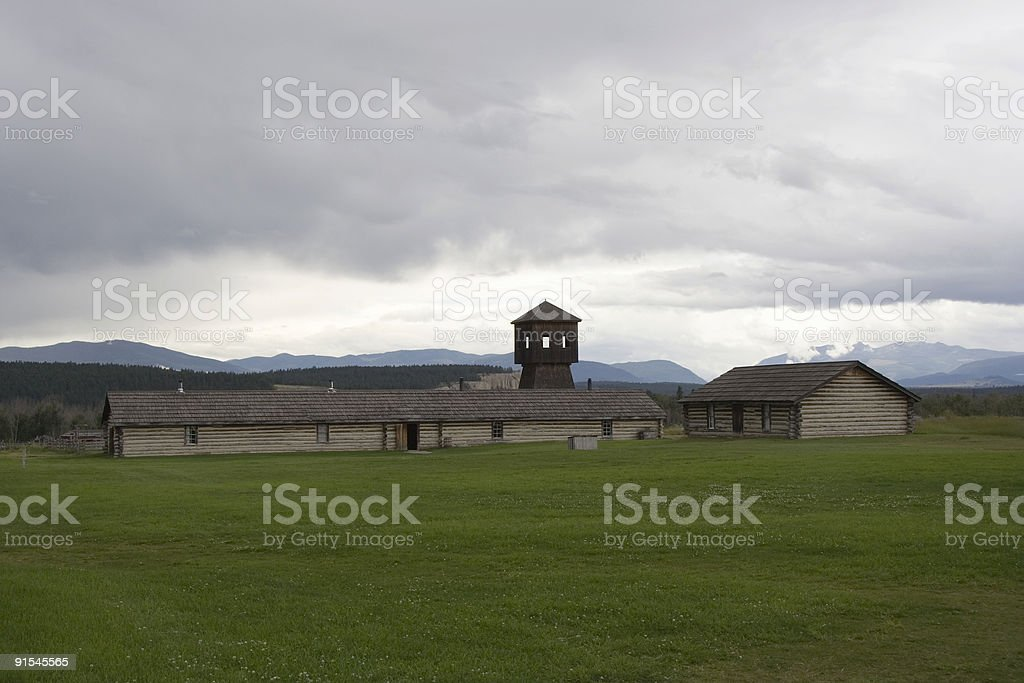 antique fort with a defense tower royalty-free stock photo