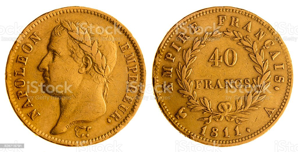 Antique forty Francs, French Gold Coins of Napoleon Bonaparte, 1811 stock photo