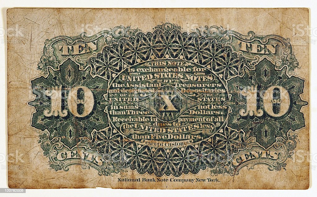 Antique Fractional Currency Note, Back stock photo