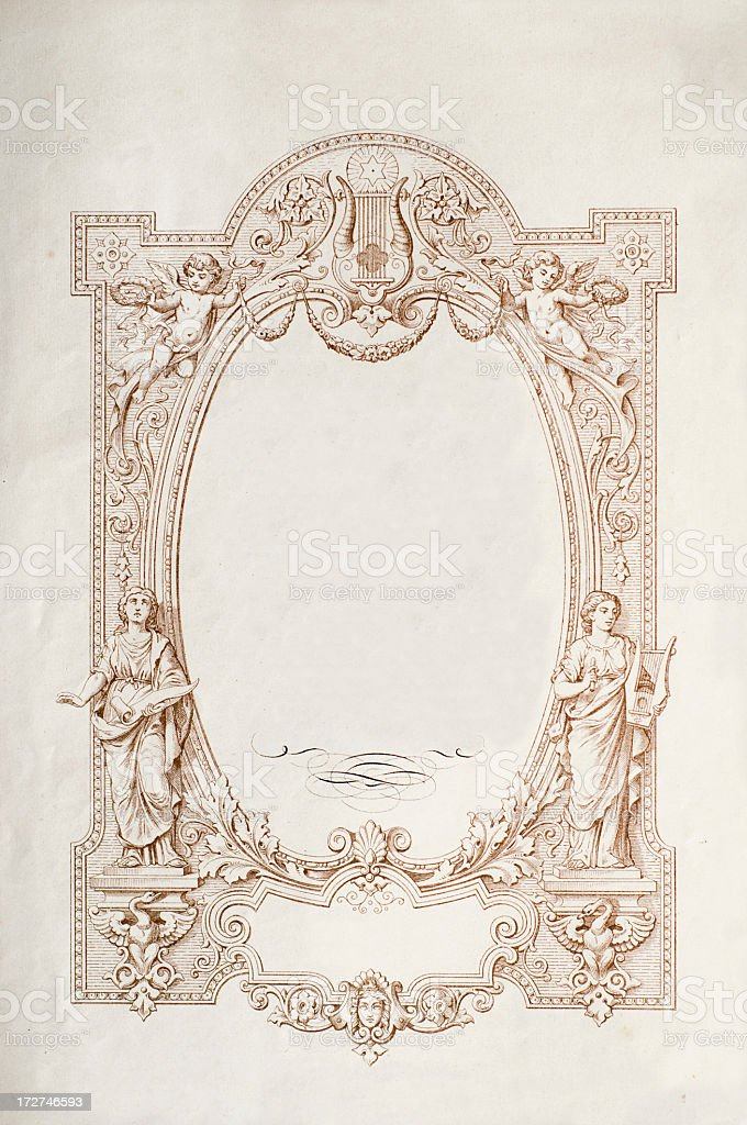 Antique frame and scroll page royalty-free stock photo
